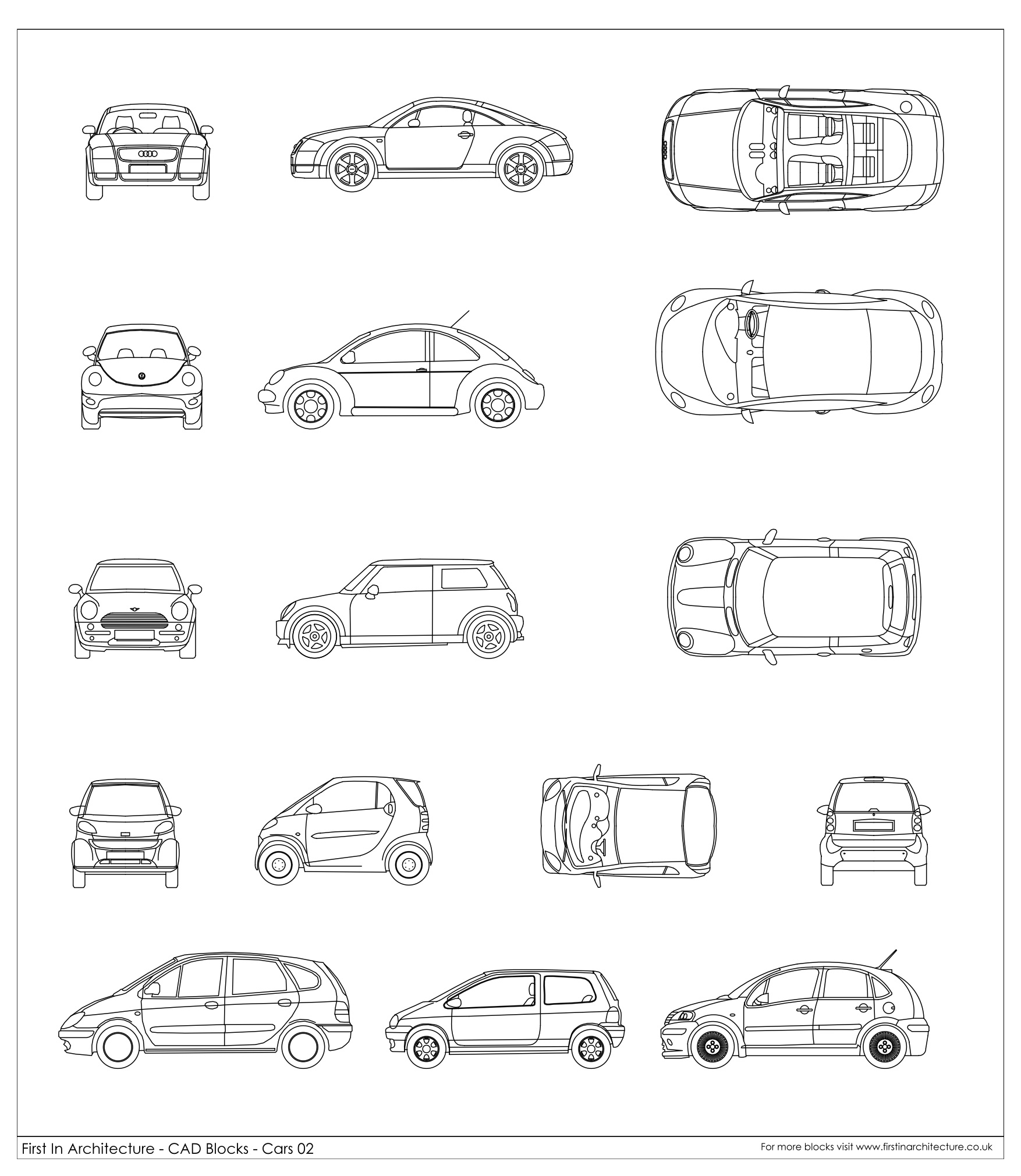 Architecture Drawing Cars cad blocks - cars 02 | first in architecture
