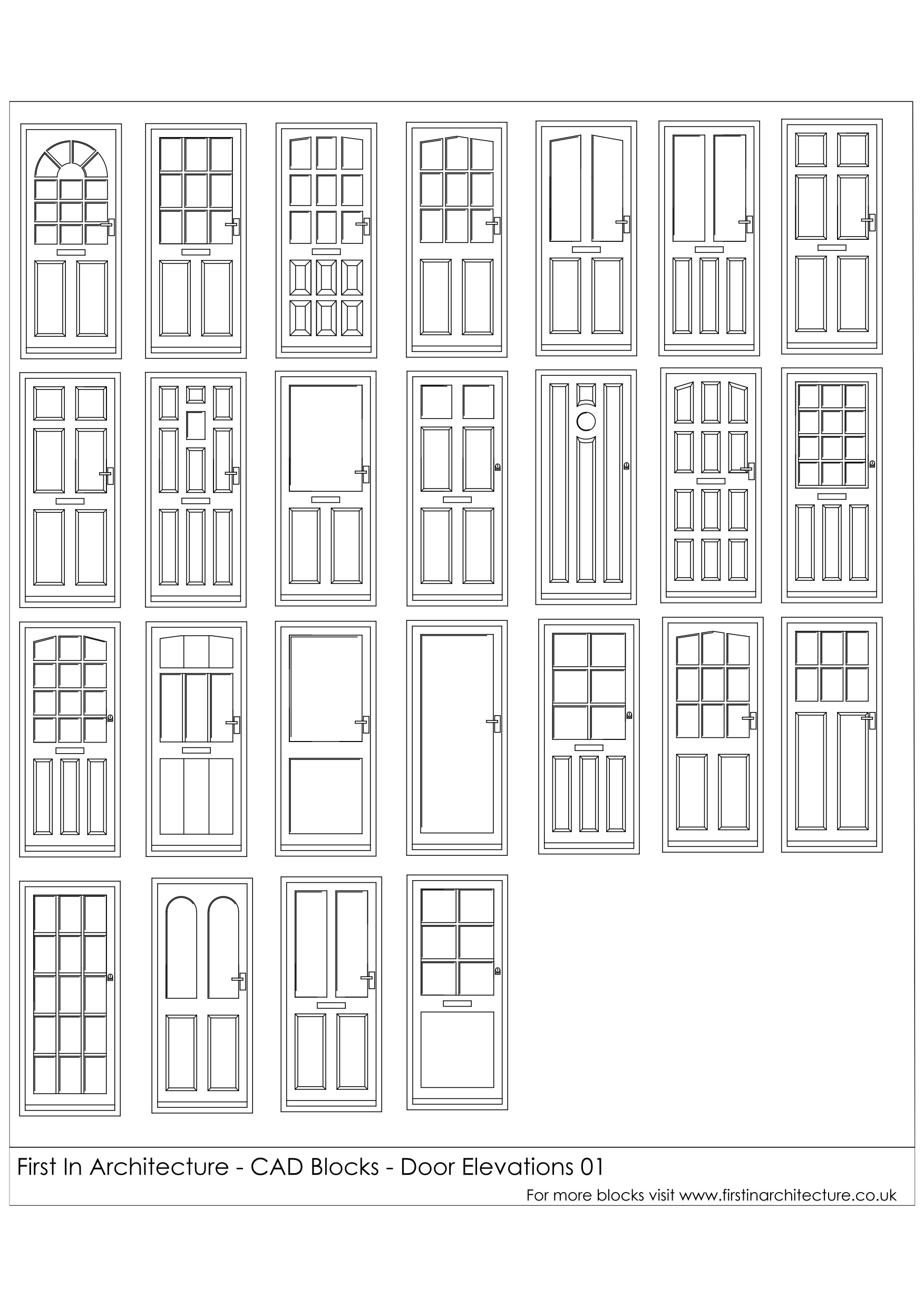 Front Elevation Door Design : Free cad blocks door elevations first in architecture