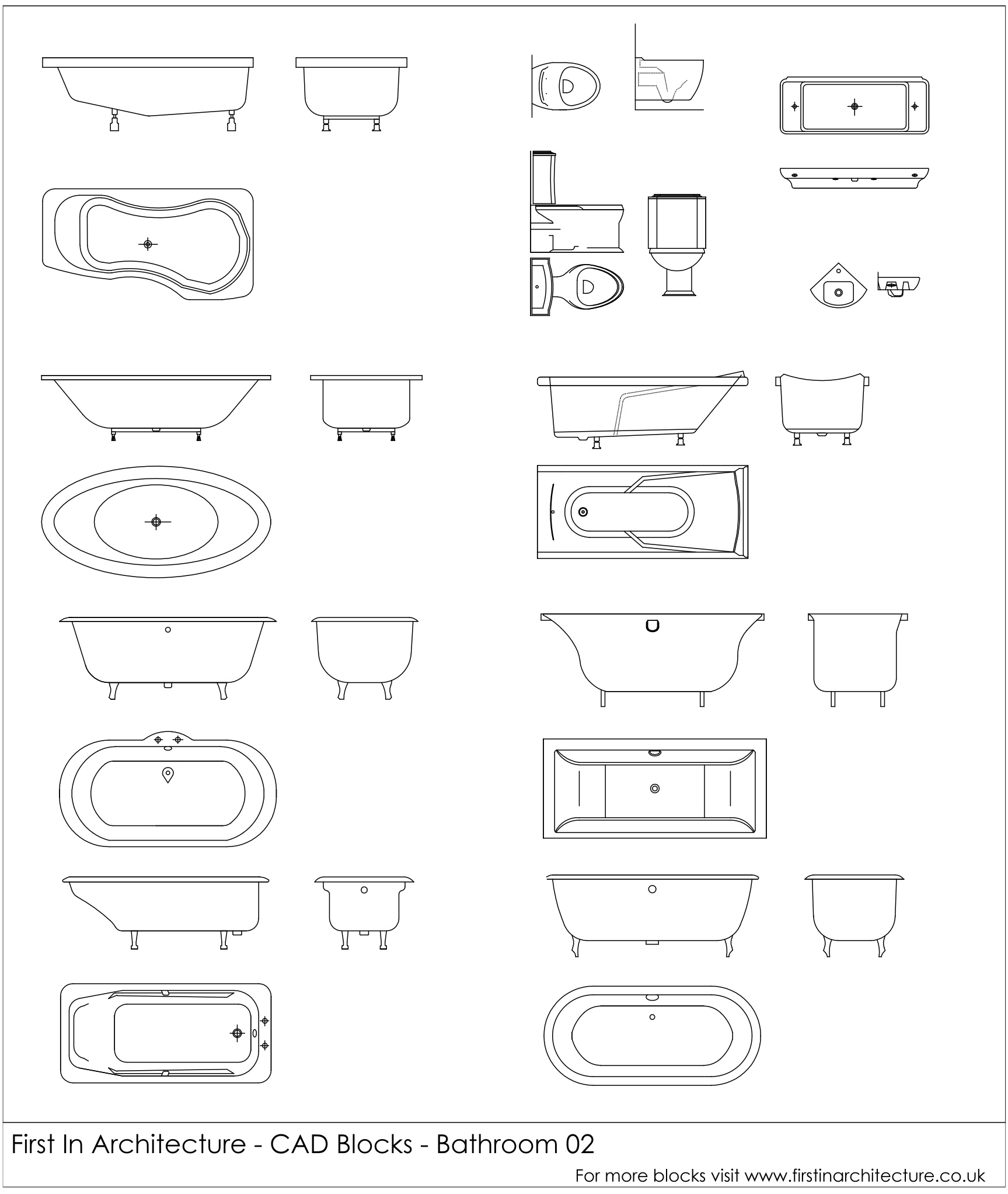 free cad blocks - bathroom