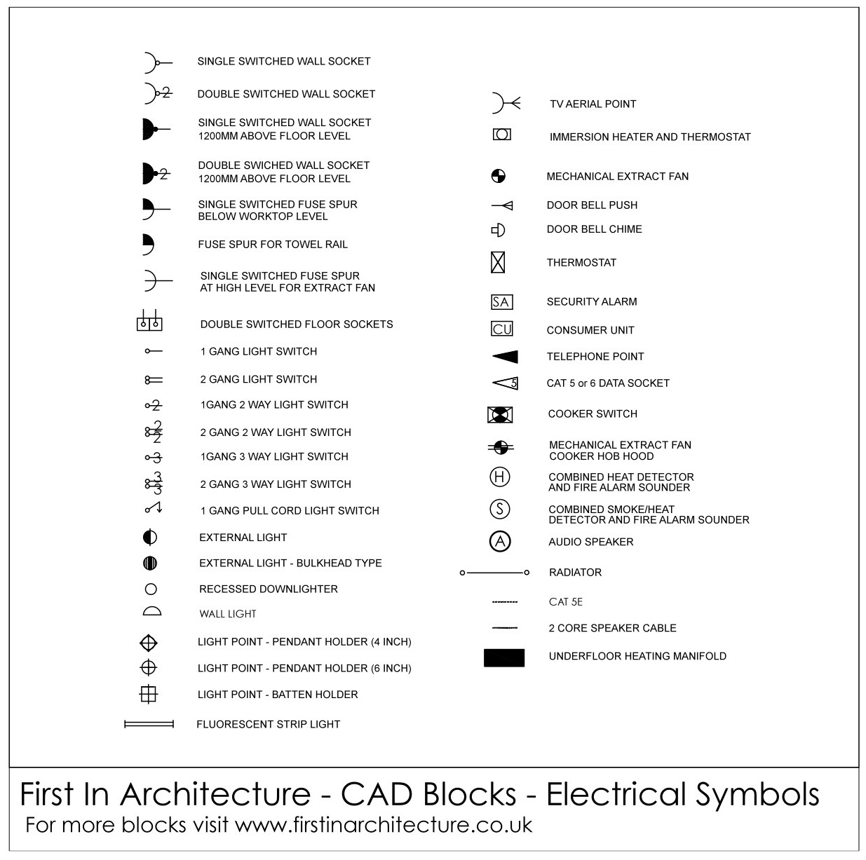 Electrical Symbols CAD Blocks 01  sc 1 st  First In Architecture & Free CAD Blocks - Electrical Symbols