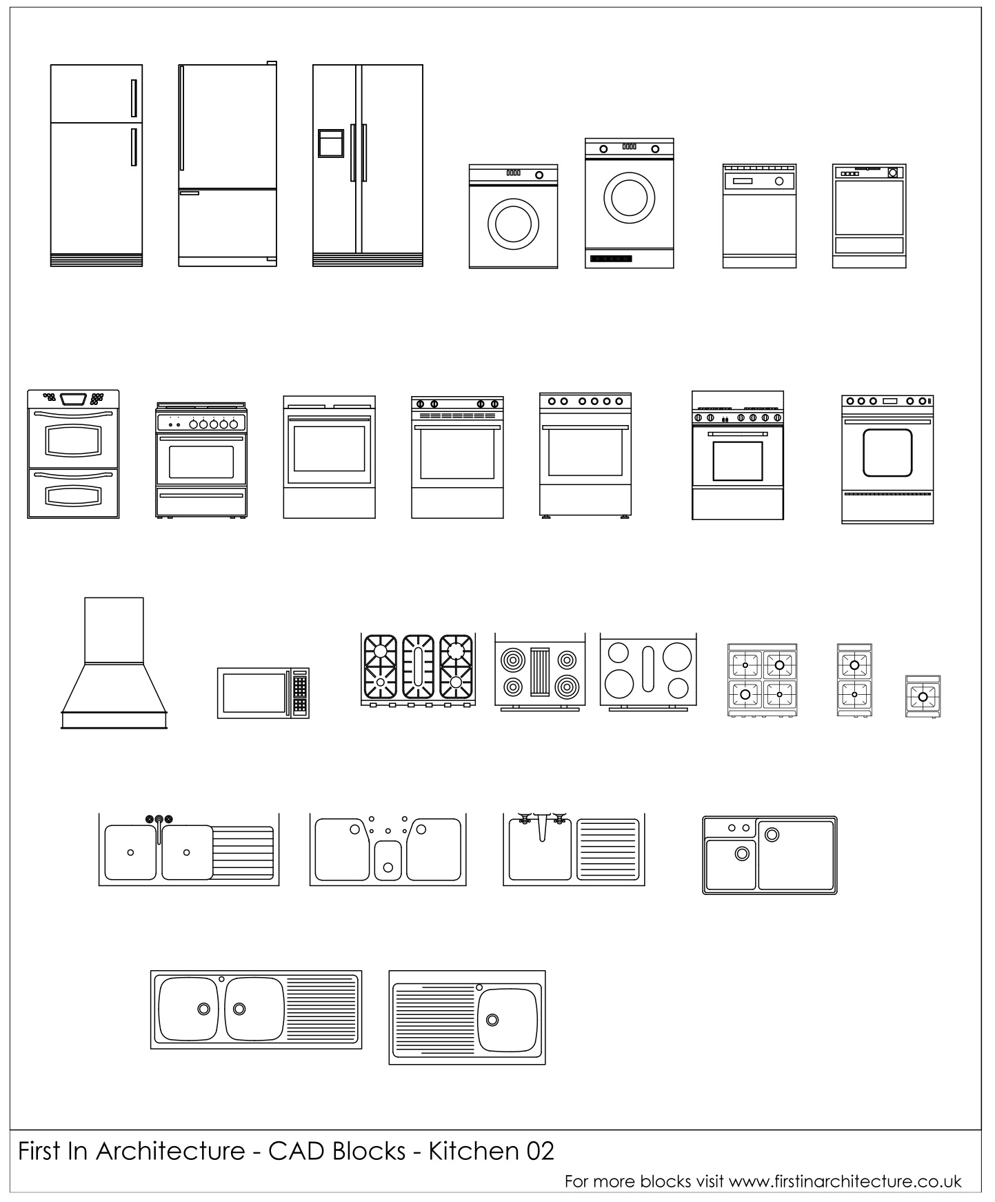 Free Cad Blocks Kitchen Appliances 02 First In