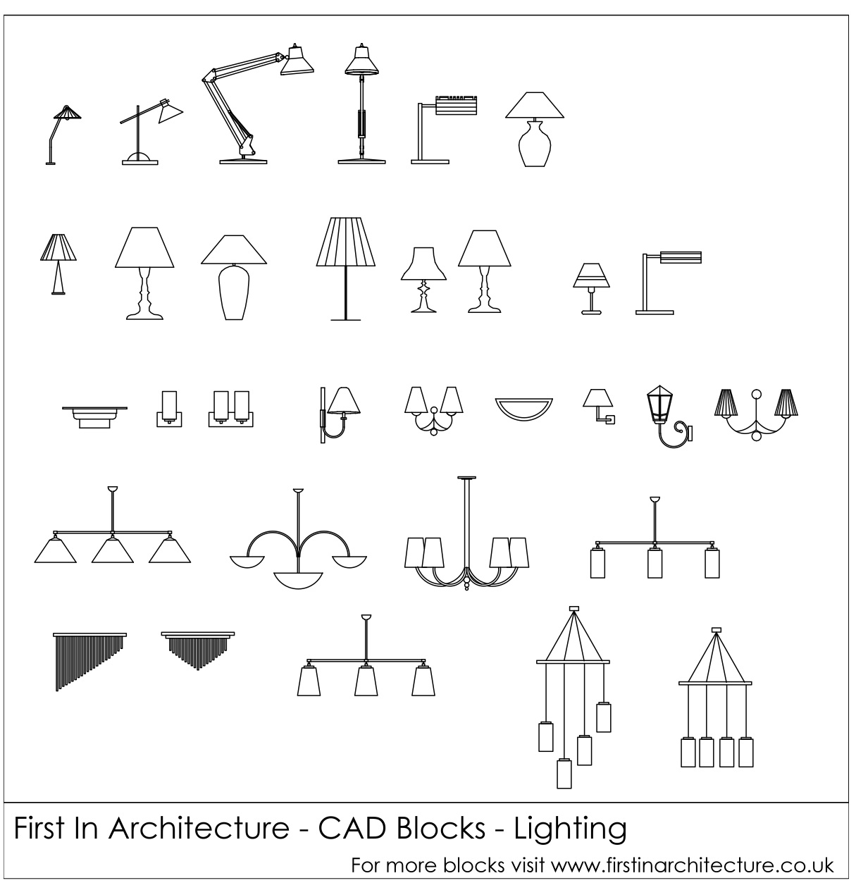 FIA CAD Blocks Lighting  sc 1 st  First In Architecture & Free CAD Blocks - Lighting