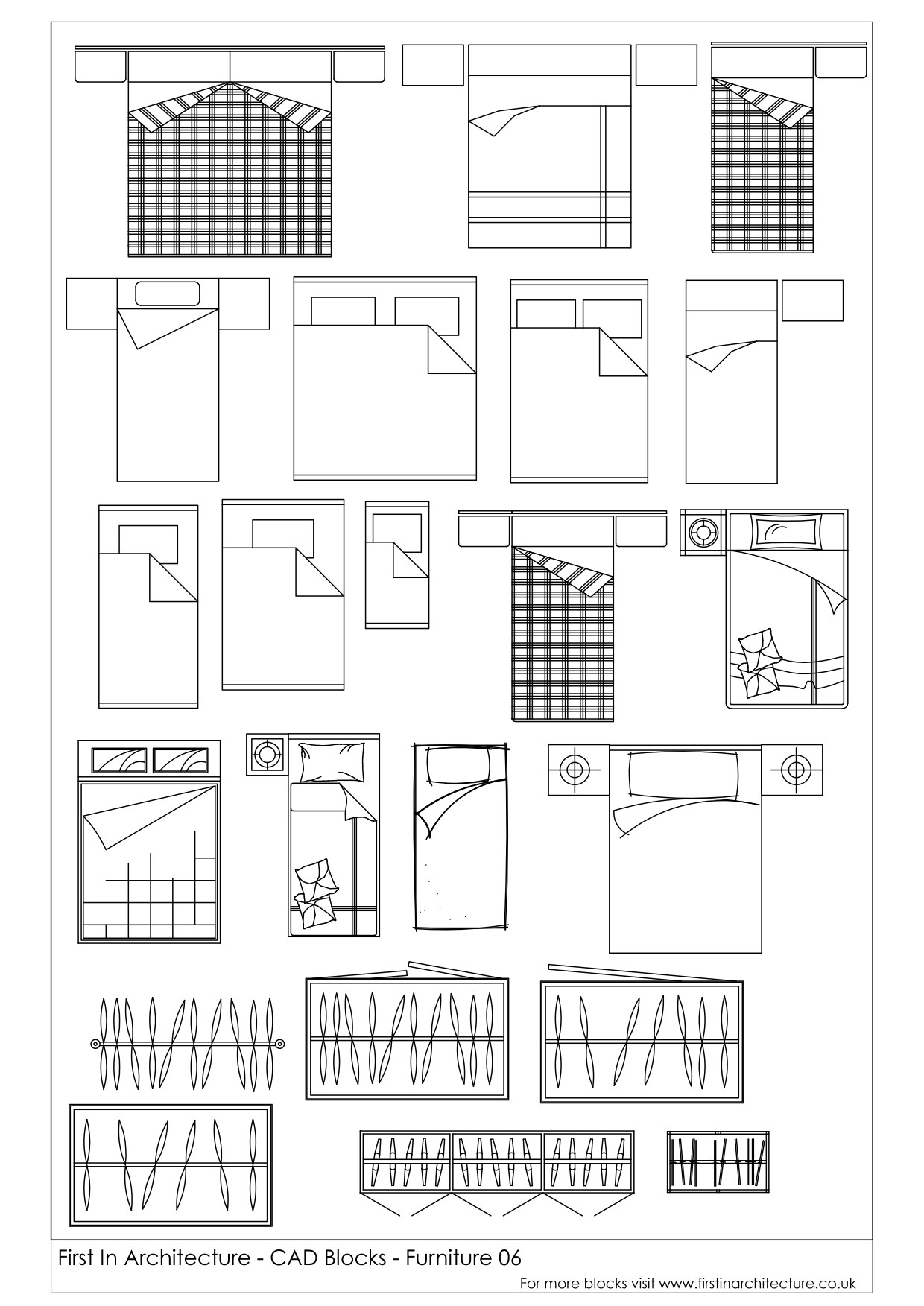 Free cad blocks beds and wardrobes first in architecture for Room design cad