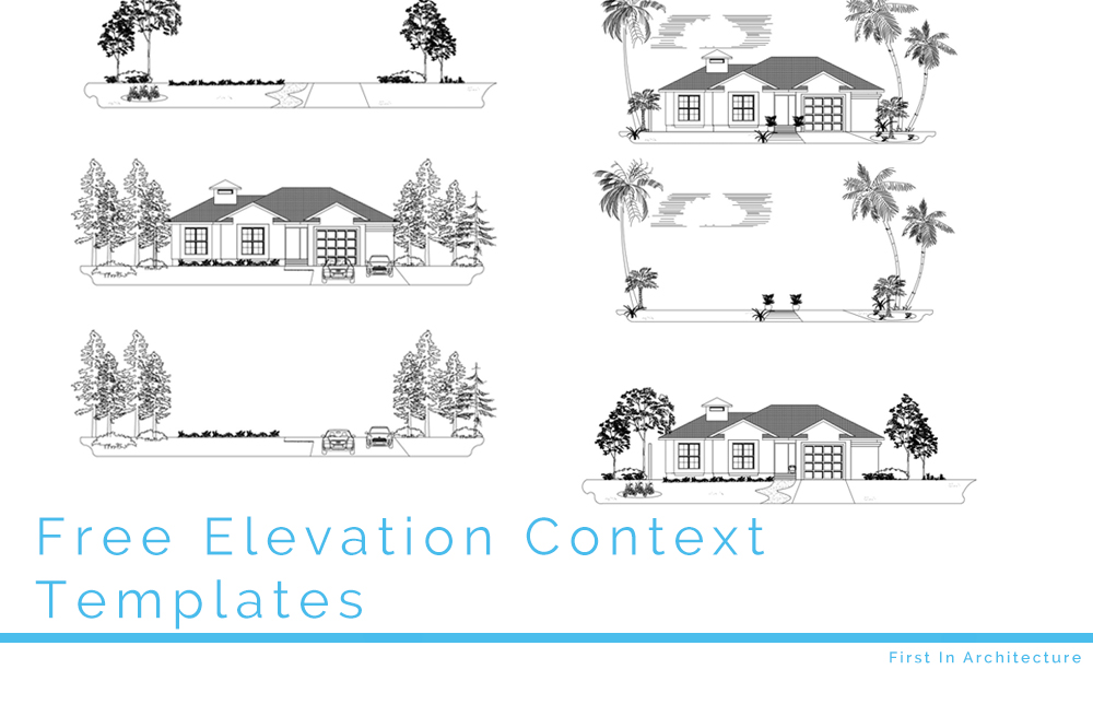 Free CAD Blocks - Elevation Context Landscapes for your design
