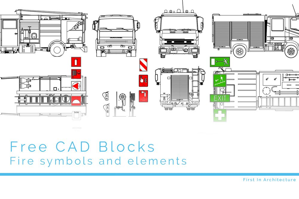 free cad blocks – fire elements and symbols