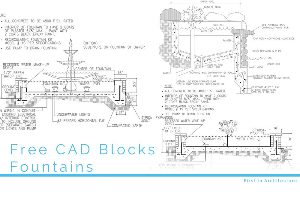 Free cad blocks fountain section details first in for Fountain autocad block